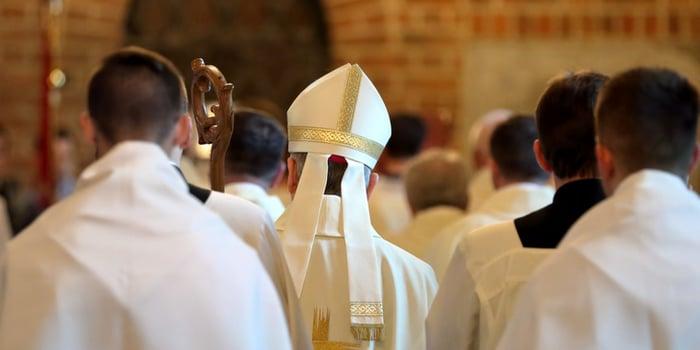 Bishop attending mass